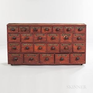 Grain-painted Twenty-four-drawer Yellow Pine Apothecary Cupboard