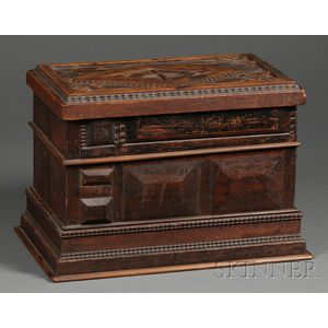 Paneled and Carved Walnut Puzzle Box