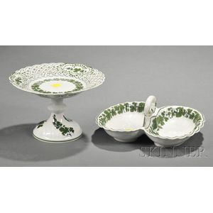 Meissen Porcelain Vine Pattern Decorated Compote and Two-part Dish