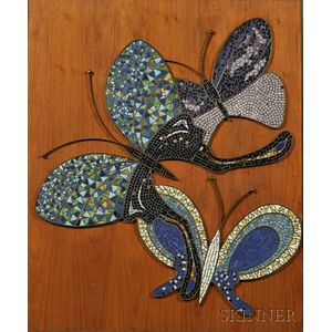 Modern Glass Mosaic Butterfly Wall Plaque