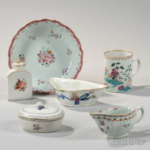 Six Polychrome Decorated Export Porcelain Items