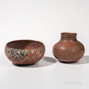 Two Homolovi/Saint John Polychrome Clay Vessels