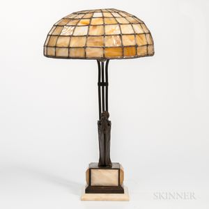 Art Deco Patinated-bronze and Marble Erotic Figural Lamp