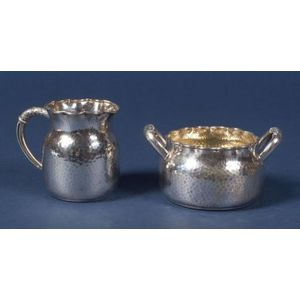 Wood & Hughes Hammered Sterling Aesthetic Movement Creamer and Sugar Bowl