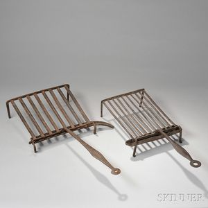 Two Wrought Iron Broilers with Drip Trays