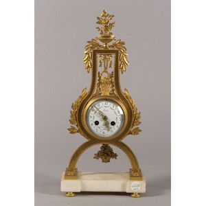 Louis XVI Style Brass and White Marble Lyre-form Mantel Clock