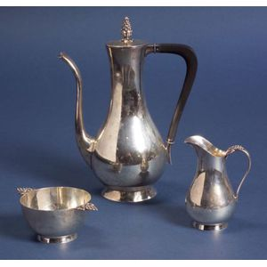 Three Piece Tiffany & Co. Sterling Modernist Demitasse Set