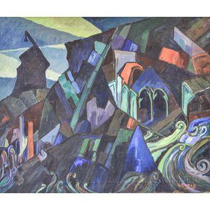 Leighton Cram (American, 1895-1981)      Abstract Landscape