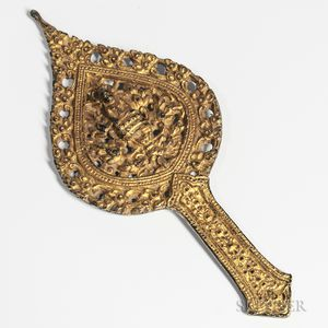 Buddhist Gilt-bronze Openwork Handled Aureole