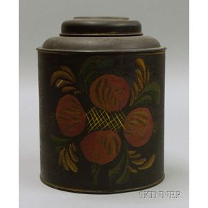 Polychrome Paint Decorated Tin Cannister
