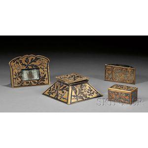 Four-piece Arts & Crafts Sterling over Copper Desk Set