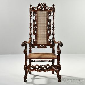 Baroque-style Caned Walnut Armchair