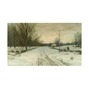George Howell Gay (American, 1858-1931)  Lot of Two Watercolors:  Cottage on a Country Lane, Winter