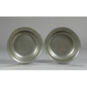 Pair Pewter Deep Dishes by Thomas Danforth Boardman