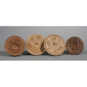 Four Wooden Butter Stamps