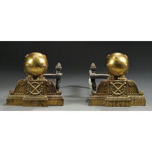 Pair of Napoleon III Gilt-bronze Andirons