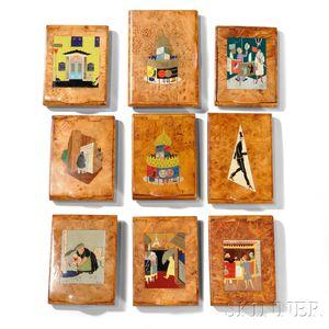 Ten Art Deco Burlwood Souvenir Boxes