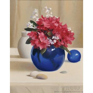 Robert Douglas Hunter (American, 1928-2014)      Still Life with Flowers in a Cobalt Blue Vase