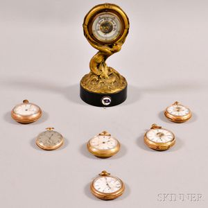 Six Gold-filled Elgin Pocket Watches, an A.W. Co. Pocket Watch, and a German Desk Barometer.     Estimate $250-350