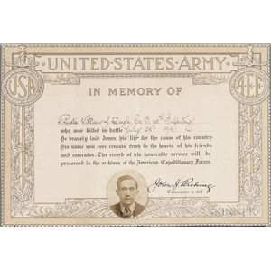 Pershing, John J. (1860-1948) Signed WWI Memorial for Private William J. Doyle, 1918.