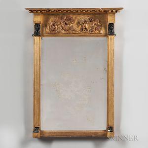 Egyptian Revival Gilt and Part-ebonized Mirror