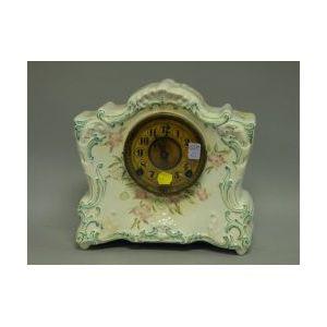 F. Kroeber Rococo-style Ceramic Mantel Clock.