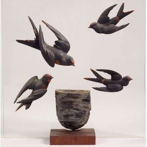 Folk Art Carved Wooden Swallows and Nest