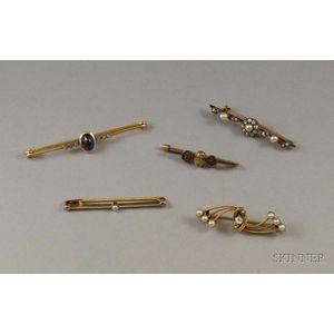 Five Antique Gold Gem-set Bar Pins