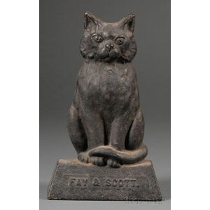 Figural Cast Iron Black-painted Seated Cat Doorstop