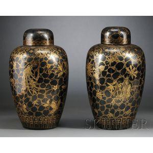 Pair of Black Glazed and Gilt Covered Jars