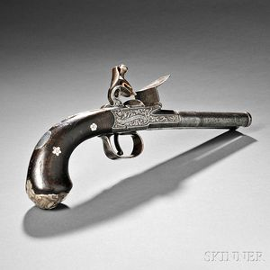 Boxlock Double Barrel Flintlock Pistol