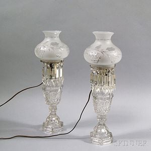 Pair of Sandwich Colorless Glass Kerosene Lamps