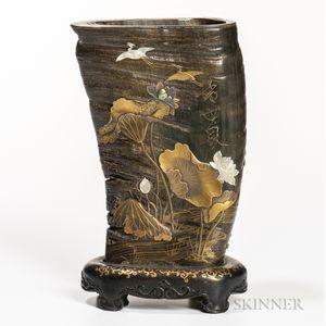 Shibayama Inlaid Horn Vase