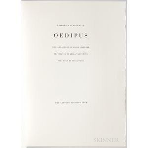 Dürrenmatt, Friedrich (1921-1990) Oedipus  , Illustrated with Photogravures by Marie Cosindas.
