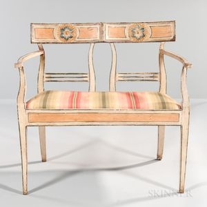 Swedish Neoclassical Gray-painted Carved Wood Sofa