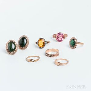 Six Low-karat Gold Bands and a Pair of Jadeite Earrings