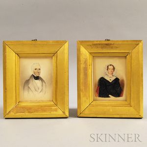 Pair of Framed G.M. Mather Watercolor Portraits of a Man and Woman