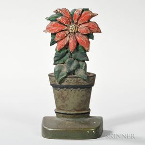 Cast Iron and Paint-decorated Poinsettia Doorstop