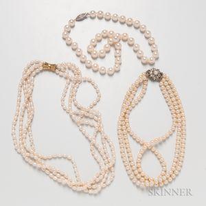 Three Pearl Necklaces