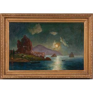 Russian School, 20th Century      Ship Under Moonlight by a Mountainous Coastline.
