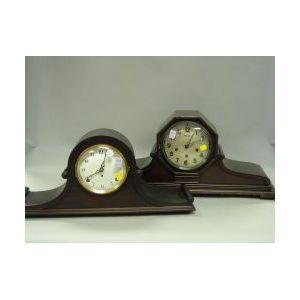 Seth Thomas Neoclassical Mahogany Veneer and Ansonia Neoclassical Mahogany Mantel Clocks.