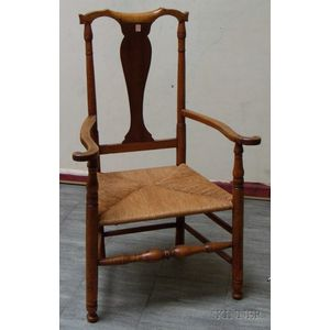 18th Century Turned Tiger Maple Armchair with Woven Rush-style Seat.