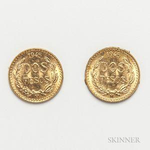 Two 1945 Mexican 2 Pesos Gold Coins.     Estimate $100-200