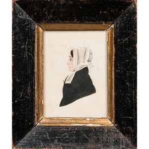 American School, 19th Century      Profile Portrait of Mrs. Porter