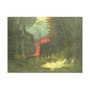 Framed Oil of a Fire in a Forest.