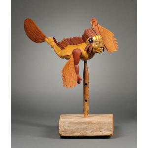 Contemporary Folk Carved Wood and Glazed Pottery American Indian-form Whirligig