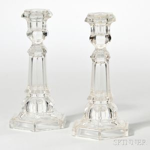 Pair of Colorless Pressed Glass Columnar Candlesticks