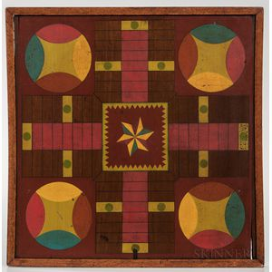 Painted Parcheesi Game Board with Six-pointed Star Decoration
