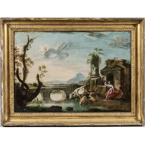 Continental School, 17th Century Style      Arcadian Landscape with Shepherd Couple and Animals Beside Ruins