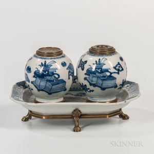 Blue and White Ceramic and Brass-mounted Inkwell